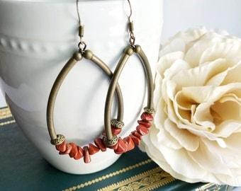 Bohemian statement earrings, boho chic gemstone earrings, red beaded earrings, red jasper, gemstone chip, colorful bohemian jewelry