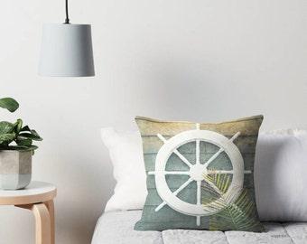 Ship Wheel Nautical Decor Pillows | Coastal Pillows | Nautical Pillow Covers | Throw Pillow Covers 18x18 22x22 | Beach House Pillow Covers