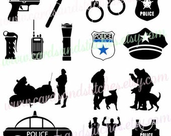 Police SVG - Police Car SVG - Police Clipart - Digital Cutting File - Silhouette Cut File - Instant Download - Svg, Dxf, Jpg, Eps, Png