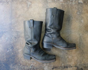 8 1/2 M / Frye Moto Boots /  Vintage Black Leather BOOTS / Women's Square Toe Boot