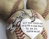 Baseball Mom Necklace Psalm 96:12 Let the Field Be Joyful Rhinestone Sports Mom Bling Hand Stamped Stainless Steel Silver Jewelry