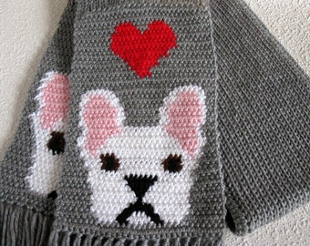 French Bulldog Scarf.  Gray knit and crochet scarf with red hearts and white bulldogs. Crochet dog scarf.