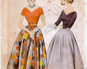 Lovely Vintage 1950s Advance 8344 Wide Neck Kimono Skeeve Blouse and Maxi or Midi Full Skirt Sewing Pattern B32 W25