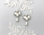 Silver, crystal & pearl drop wedding earring, Silver bridal earrings