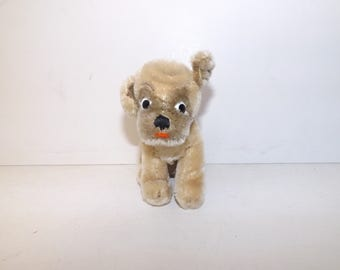 Vintage 1960s Steiff dog pug Mopsy mohair straw filled with button in ear