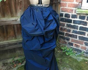 "Dark blue shot taffeta bustle skirt (waist 29"")"