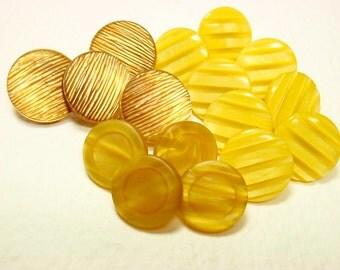Yellow Buttons, Mixed Lot, Shank Sets Mustard Lemon Plastic Comp Buttons, Vintage