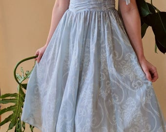 1950s Style Jessica McClintock Gunne Sax Light Blue Strapless Ruched One Shoulder Dress Size Small