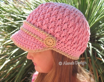 Crochet Pattern 093 Crochet Hat Pattern Crochet Patterns Buttoned Visor Hat Boys Girls Children Teens Women Gray Brown Pink Men's Winter Hat