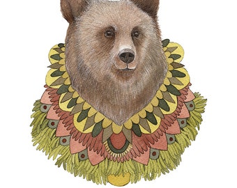 Collector: Bear // 8x10 Art Print // Woodland Illustration