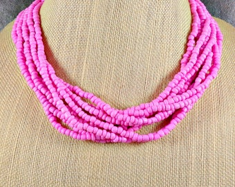 Seed Bead Necklace, Statement Necklace, Pink, Multistrand Necklace, Chunky Necklace, Bubblegum Pink Beaded Necklace, Pink Bead Necklace