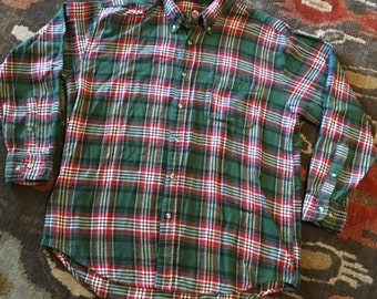 Vintage Trading Company GFC Mens Large Green Red Plaid Lumberjack Flannel Shirt