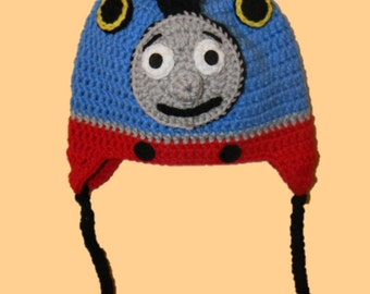 Crochet Thomas the Train Hat, Size 1 year, 2T, 3T, 4T, 5T, Child, Toddler, Train Hat, Ready To Ship