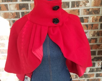Audrey Pleated Cape with Side Closure - Red Wool Outer with Red and Leopard Silk Lining, Rose Buttons and Gun Metal Snaps.