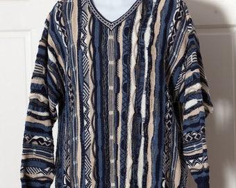 Vintage 90s Textured V-neck Sweater blues white Men's Sweater - Giorgio di Firenze - Large