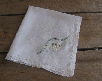 Blue Floral Ladies Handkerchief, Something Blue Hankie, Woman's White Hankie Hanky