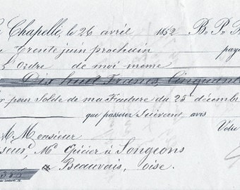 1852 Antique French Paris Receipt Document Pretty Typography & Handwriting Script Blue Paper from Vintage Paper Attic