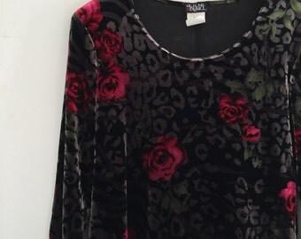 Vintage 90's Velvet Gothic Rose Dress M