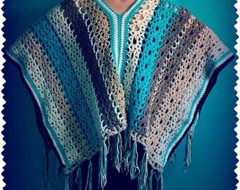 Crochet Poncho,Knit Shawl,Crochet Shawl,Poncho Sweater,Poncho Wrap,Poncho Cape,Hippie Clothes,Gypsy Clothing,Boho Clothing,Brown,Blue,Gift