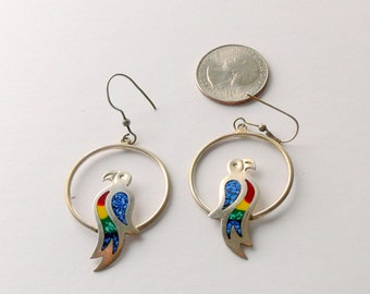 parot silver earrings inlaid turquoise