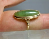 Vintage Jade Ring 10k Yellow Gold Natural Nephrite Green Translucent Jade Cabochon 3.69 grams Size 8 Very Old Setting DanPickedMinerals