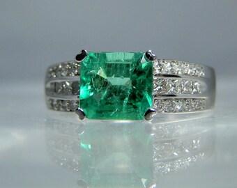 Vintage Iliana Emerald and Diamond 18k White Gold Ring Size 7 A Stunning 1.62 carat Emerald Cut Colombian Emerald Gemstone DanPickedMinerals