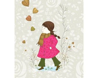 Framed print, Wall art - Girl in a Pink Coat - Illustration art, Romance, LOVE