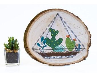 Succulent wall art, wall art decor, succulent terrarium, succulent string art, wood wall art, succulent painting, succulent sign