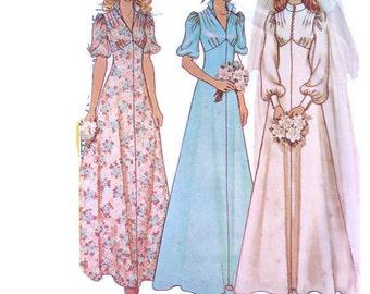1970s MCCALL'S 4207 Women's vintage boho wedding dress bridal prom DIY Paper Pattern 1970s 70s Bust 34