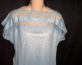 Size Small- Vintage Pajamas - by Jill Andrea of New York - Blue - Nylon - Lace - Tunic Top - Tie Belt
