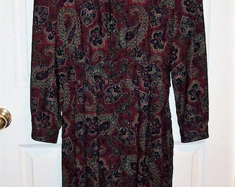 Vintage Burgundy Paisley Dress by Lanz Originals Size 12 Only 15 USD