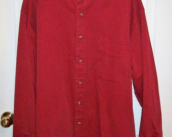 Vintage Men's Red Heavy Cotton Collarless Banded Collar Shirt by Eddie Bauer Denim XL Only 15 USD