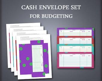 Printable Cash Envelope Set - Envelope Organizer - Cash Envelope Wallet - Polka Dots - Petty Cash Envelopes - Budget Envelopes