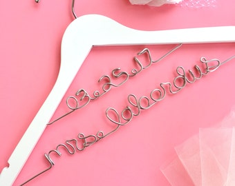 Unique Bridal Shower Gifts, Personalized Wedding Gifts, Gifts for a Bride to Be, Custom Wedding Hangers, White Bridal Hangers with Name
