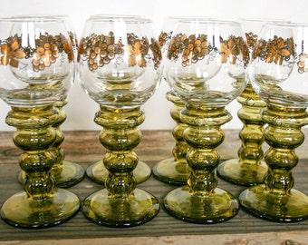 Roemer Boho Style, Stemware Goblets, Blown Bubble Glass Stem, Olive Green, Set of 8