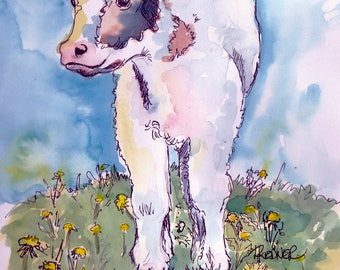 Calf in the Spring Meadow Card