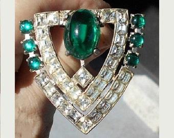 Rhinestone Dress Clip 1930's Art Deco Emerald Green & Clear Pot Metal Dress or FUR CLIP, Pendant.