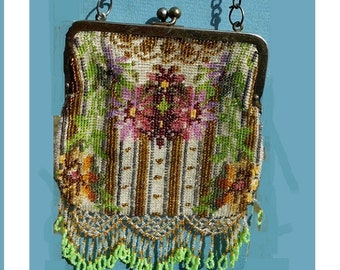 Antique Micro Beaded Purse, Pink Fuchsia Flowers, Tasseled, Marked Germany , Just Gorgeous Inside & Out, 100 Years Old Only 199.90