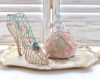 Antique French Half Doll French Boudoir Doll Pin Cushion - SALE WAS 45.00 - Free Domestic Shipping