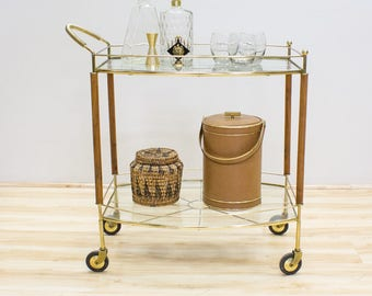 Mid Century Barcart, Teak Wood, Brass and Glass, Vintage Serving Cart