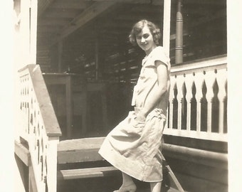 """Vintage Snapshot """"Tread Lightly"""" Flapper Dress Porch Stairs Gingerbread Trim Found Vernacular Photograph"""
