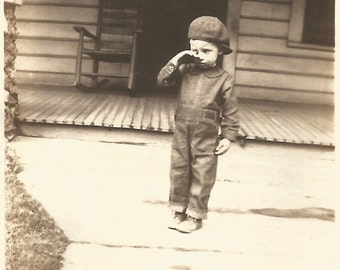 "Vintage Photo ""Something In My Eye"" Tearful Little Boy Found Photo"