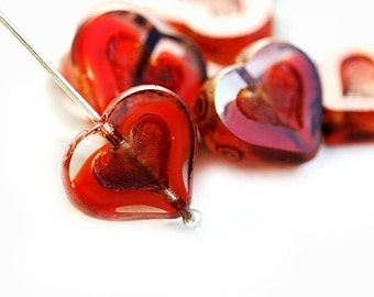 Red Heart beads, Crystal red Czech glass Picasso beads, table cut, red glass heart - 14mm - 6Pc - 0265