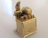Rare 9ct Gold Bartender Moving Enamel Charm