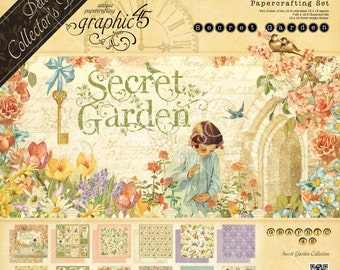 Graphic 45 Secret Garden  Deluxe Collection, 2 Sets of 12 Double Sided Papers (24 total), 1-Set of Chipboard Tags, 1-Sticker Sheet