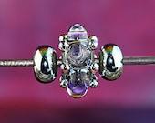 Stormy Purple Handmade Lampworked Glass Beads OOAK Set of Three Rondelles Silver Purple Ivory Clear Lampwork