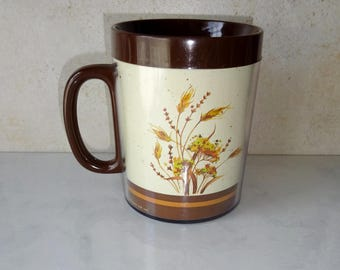 Vintage Thermo-Serv Mug Coffee Cup West Bend Insulated Thermal Plastic Mug Floral Wheat