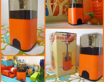 Vintage 1970s MID Century Modern Orange MOD NOS Desk Kartell Plastic Era Electric Pencil Sharpener