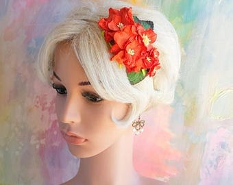 Christmas fascinator with Red Gardenia and Poinsettias Floral Headband Vintage Wedding Party Bridal Accessory Bridesmaid statement
