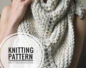 KNITTING PATTERN ⨯ Shawl Scarf, Triangle Scarf Pattern ⨯  Easy Knit Pattern, Beginner Knitting Pattern PDF ⨯ Fall Fashion Triangle Scarf